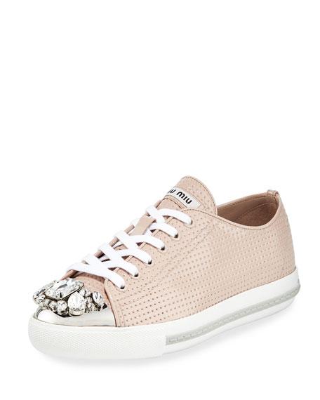 Miu Miu Allacciate Jewel-Toe Perforated Low-Top Sneaker, Cipria