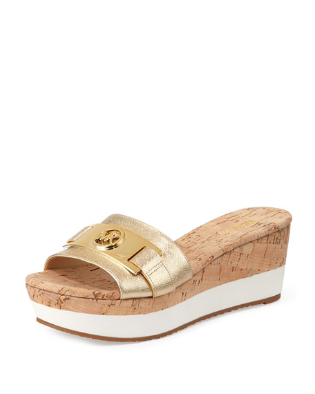 MICHAEL Michael Kors Warren Platform Wedge Sandal, Pale Golden