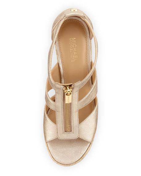 Damita Metallic Zip-Front Wedge Sandal, Pale Golden