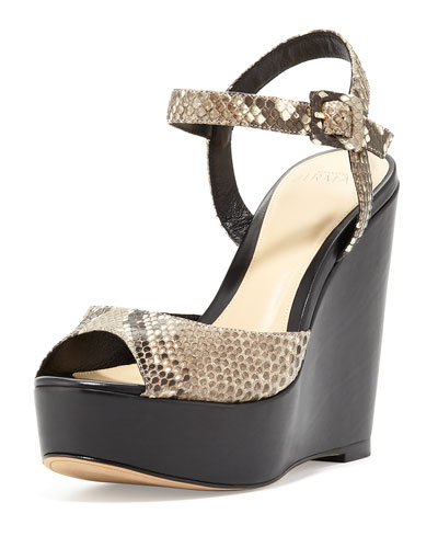 Python 110mm Wedge Sandal, Gray
