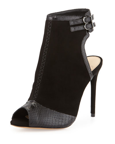 100mm Open-Toe Python/Suede Bootie, Black