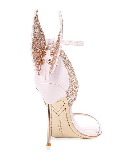 Evangeline Angel Wing Sandals, Pink Glitter