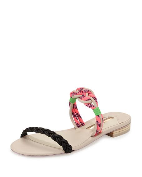 Sophia Webster Celeste Braided Flat Slide Sandal, Pink