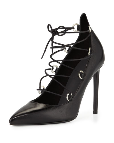 Leather Lace-Up Pump, Black
