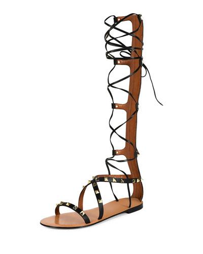 Rockstud Knee-High Gladiator Sandal, Black (Nero)