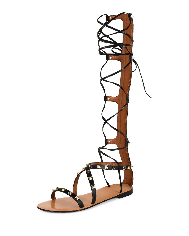 5c8e63be6736 Valentino Garavani Rockstud Knee-High Gladiator Sandal