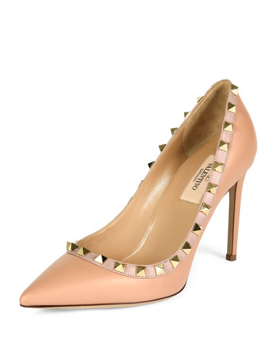 Rockstud Leather Pointed-Toe Pump, Skin Sorbet