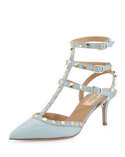 Rockstud Leather Mid-Heel Pump, Sorbet