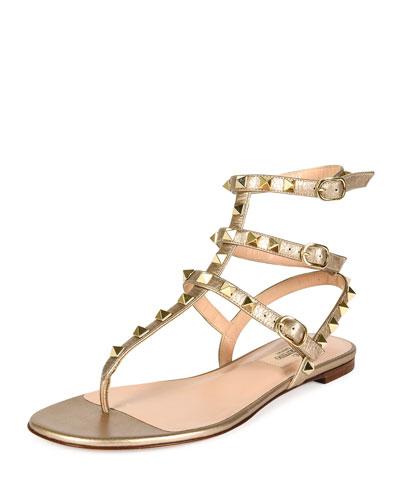 Rockstud Metallic Leather Flat Gladiator Sandal, Skin