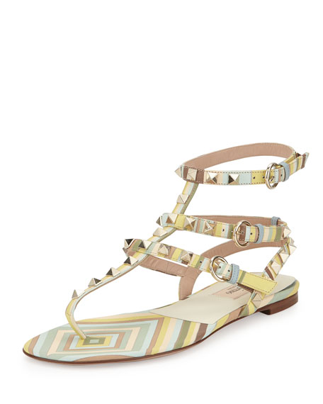 Valentino Rockstud Harlequin-Print Flat Gladiator Sandal, Green