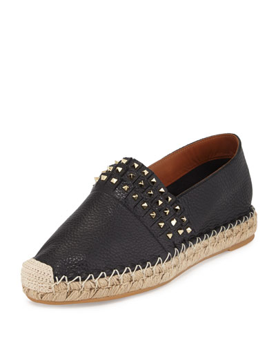 Rockstud Fringed Leather Espadrille, Black (Nero)