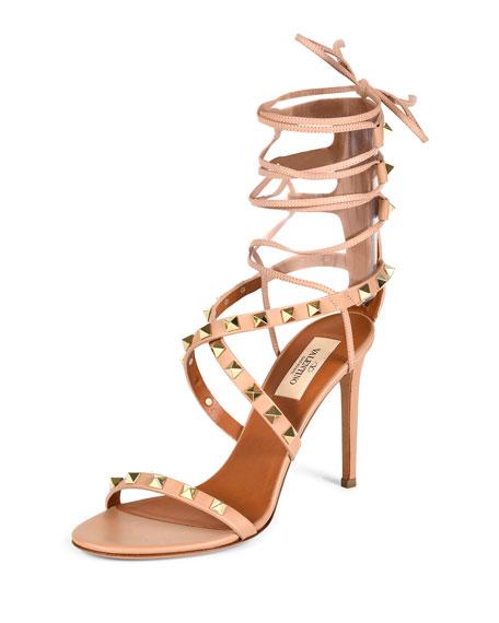 Valentino Rockstud Crisscross Ankle-Wrap Sandal, Skin Sorbet