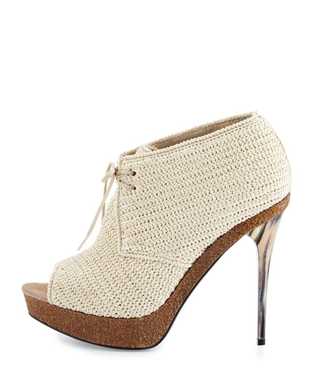 Darfield Crochet Peep-Toe Bootie, Natural Stone