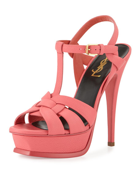 Saint Laurent Tribute Leather Platform Sandal, Rose Clair