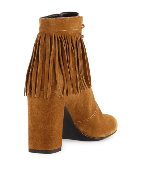 Fringed Suede Lace-Up Boot