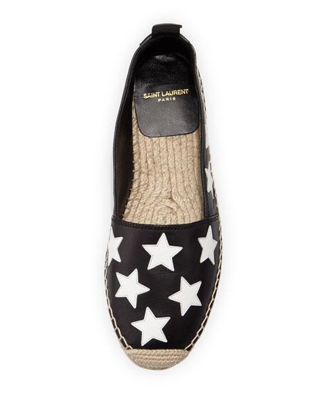 Saint Laurent Leather Stars Espadrille Flat, Black/Optic White