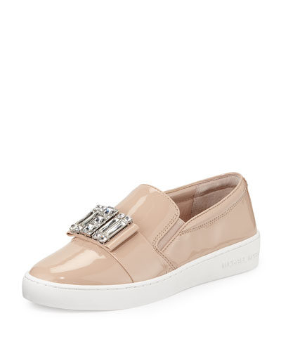 Michelle Faux-Patent Jewel Sneaker, Light Blush