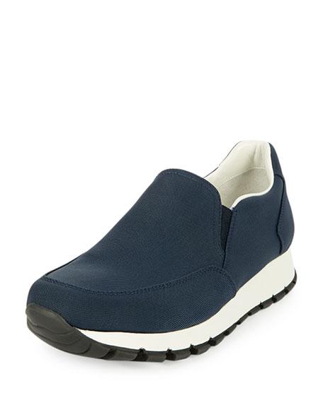 Prada Tech Fabric Slip-On Sneaker, Oltremare