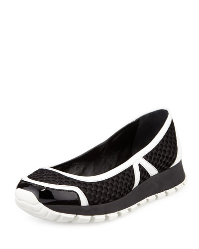 Mesh Slip-On Ballerina Sneaker, Black/White (Nero/Bianco)