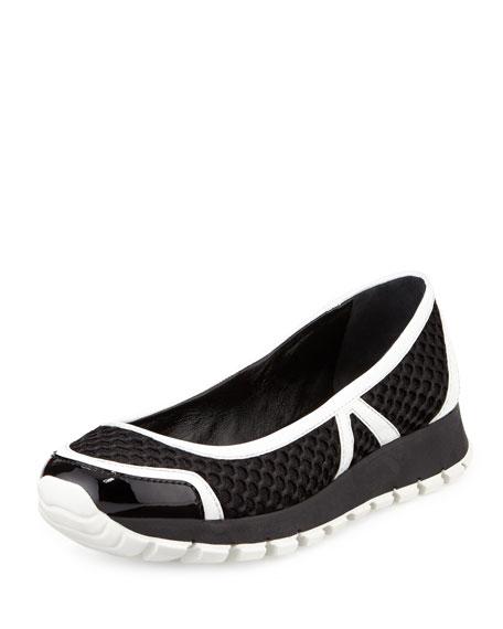 Prada Mesh Slip-On Ballerina Sneaker, Black/White (Nero/Bianco)