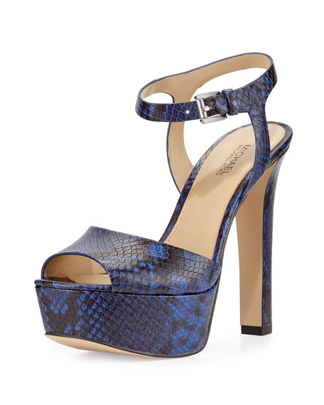 MICHAEL Michael Kors Trish Snake-Print Platform Sandal, Electric Blue