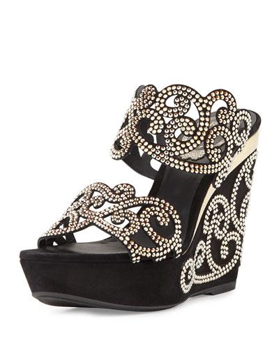 Chandelier Crystal Wedge Slide Sandal, Black/Gold