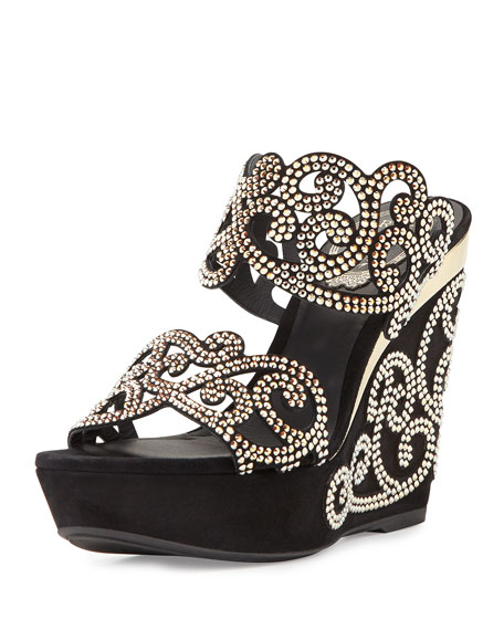Rene Caovilla Chandelier Crystal Wedge Slide Sandal, Black/Gold