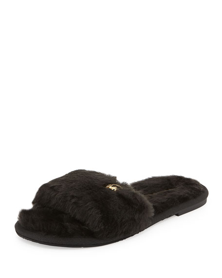 Jet Set Faux-Fur Slide, Black