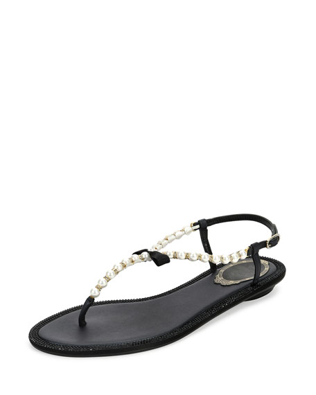 Rene Caovilla Pearly & Crystal Thong Sandal, Black