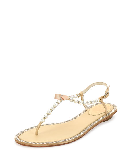 Rene Caovilla Pearly & Crystal Thong Sandal, Gold