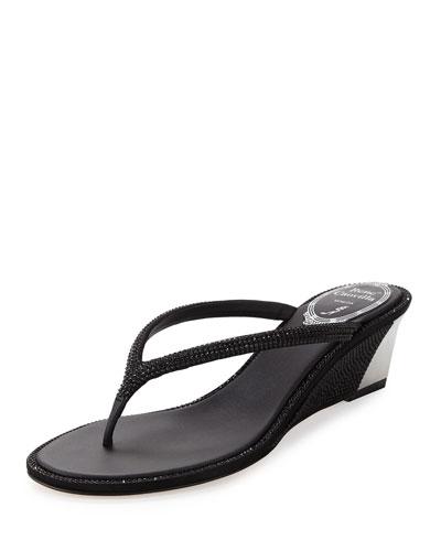 Crystal Wedge Thong Sandal, Black