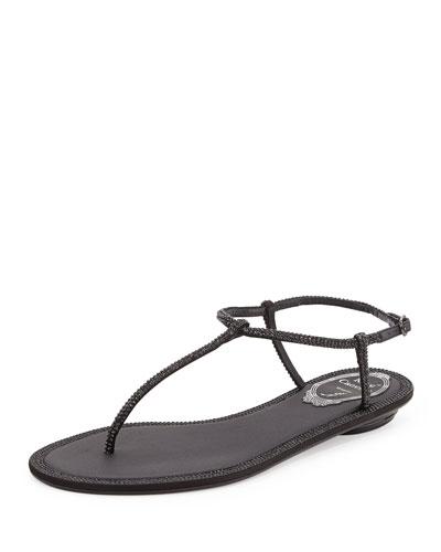 Crystal Flat Thong Sandal, Black