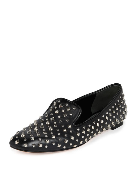 Studded Leather Loafer, Black