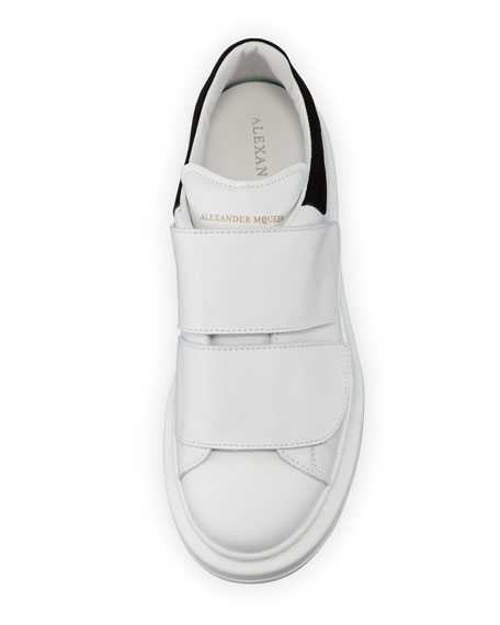 cozy fresh recognized brands the cheapest Alexander McQueen Leather Grip-Strap Low-Top Sneaker, White/Black