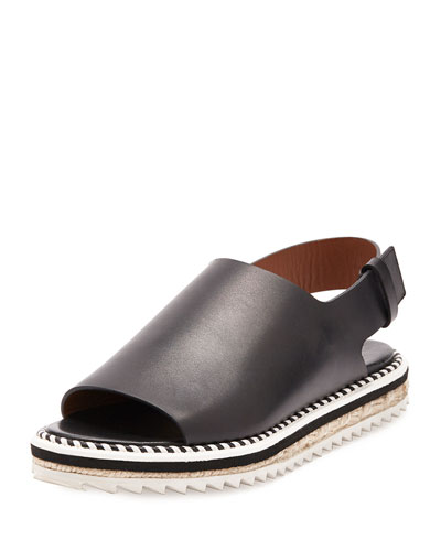 Leather Slingback Espadrille Sandal, Black