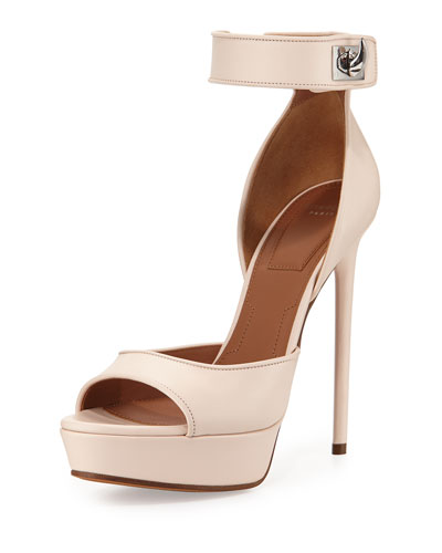 Leather Shark-Lock d'Orsay Sandal, Nude Pink