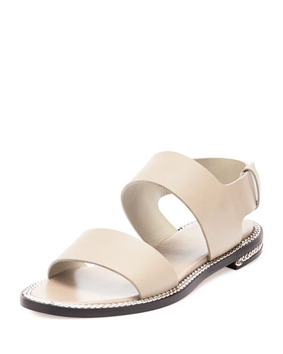 Chain-Wrapped Leather Sandal, Beige