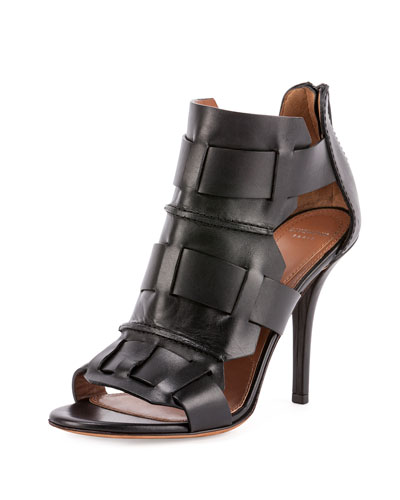 Woven-Cage Leather Sandal, Black