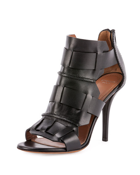 Givenchy Woven-Cage Leather Sandal, Black