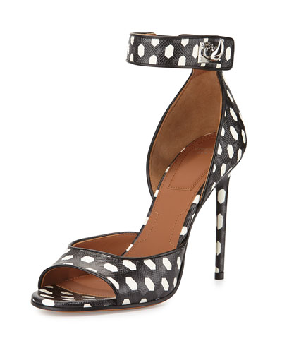 Polka-Dot Shark-Lock Sandal, Black/White