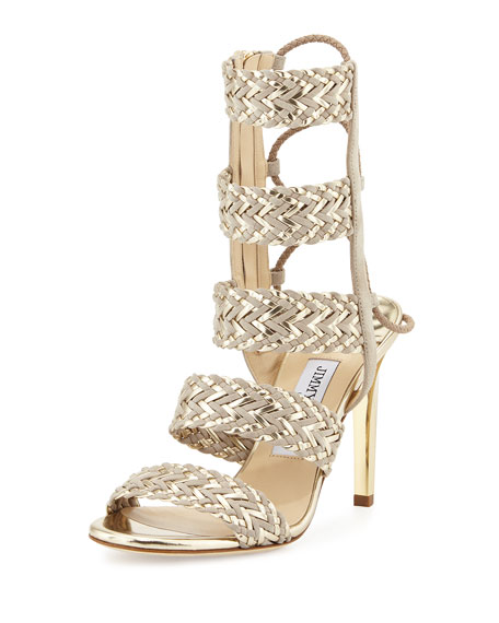 Jimmy Choo Lima Braided 100mm Sandal, Marble/Champagne
