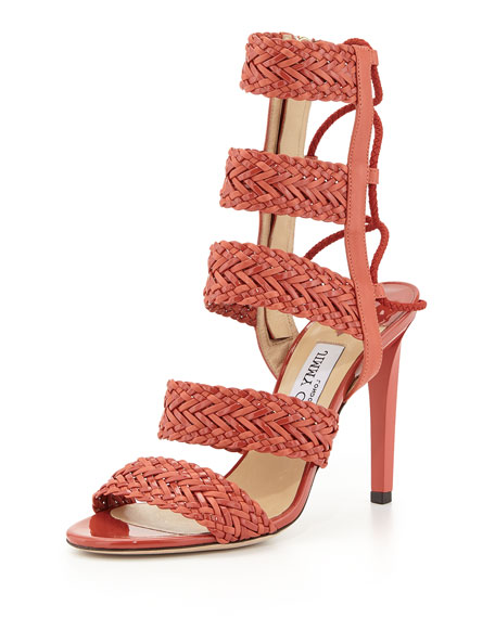 Jimmy Choo Lima Braided Leather 100mm Sandal, Agate