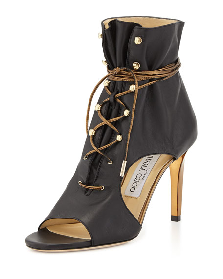 Jimmy Choo Minka Leather Lace-Up Cutout Bootie, Black/Gold