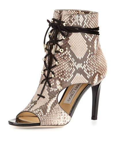 Minka Python Lace-Up Cutout Bootie, Natural/Black