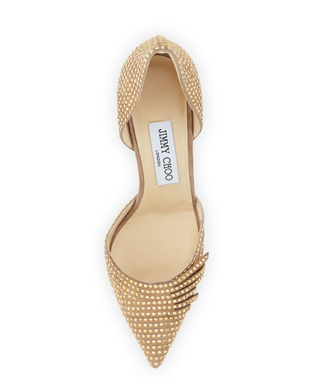 Kyra Studded 85mm d'Orsay Pump, Nude/Gold