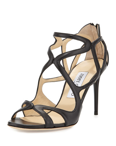 Leslie Curvy-Caged Leather Sandal, Black
