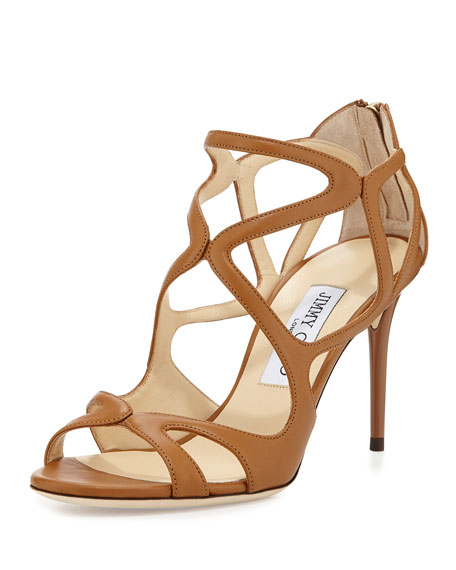 Jimmy Choo Leslie Curvy-Caged Leather Sandal, Canyon