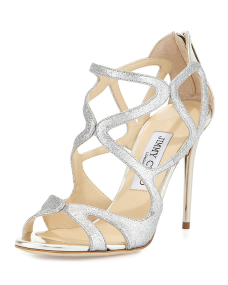 Jimmy Choo Leslie Curvy-Caged Glitter Sandal, Silver