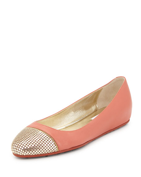 Jimmy ChooWaine Metal Mesh-Toe Ballerina Flat, Agate/Gold