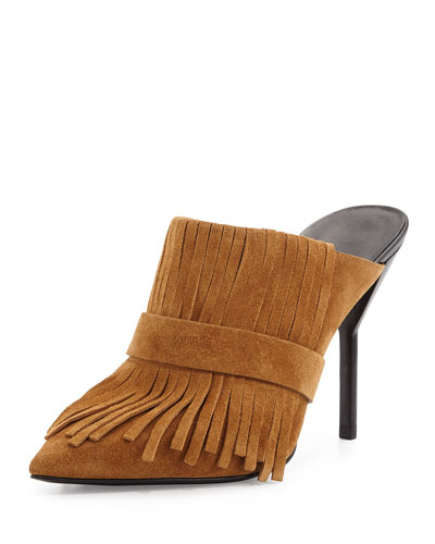 Martini Fringe Suede High-Heel Mule, Oak